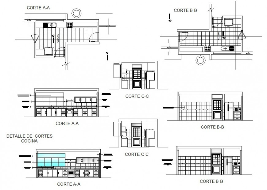 House kitchen elevation, section, plan and furniture drawing details dwg file