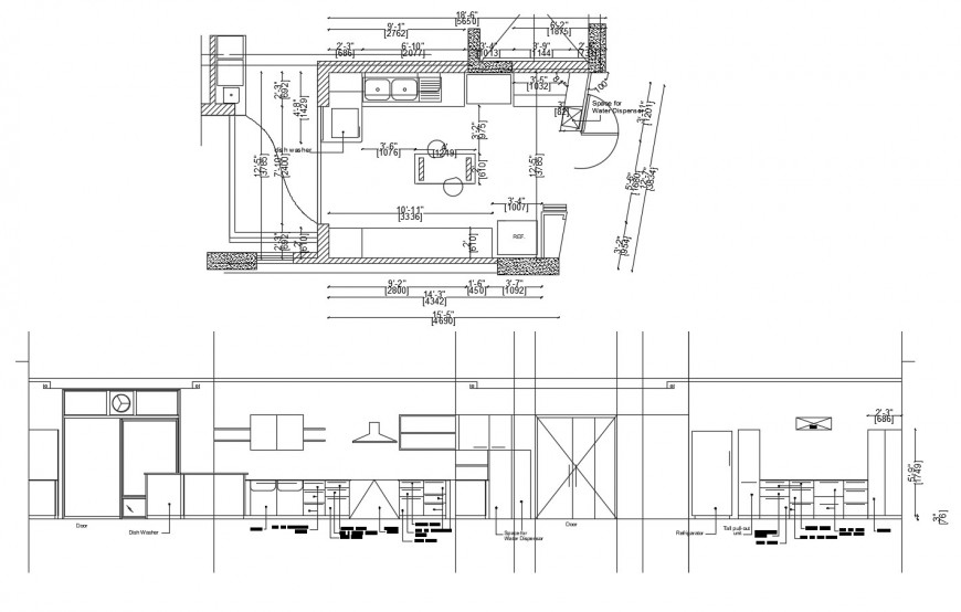 House kitchen folded elevation, section and plan cad drawing details dwg file