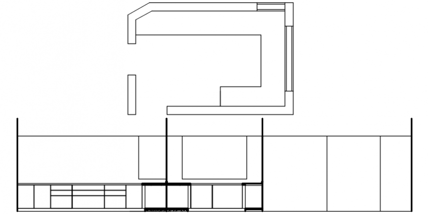 House kitchen general section and plan cad drawing details dwg file
