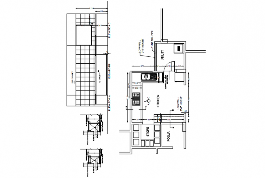 House kitchen layout plan, structure and furniture drawing details dwg file