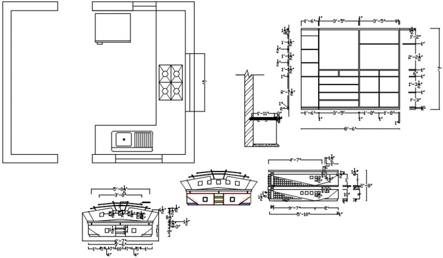 House kitchen layout plan and furniture drawing details dwg file