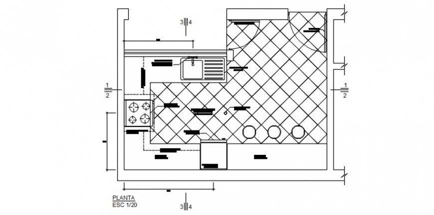 House kitchen model layout plan cad drawing details dwg file