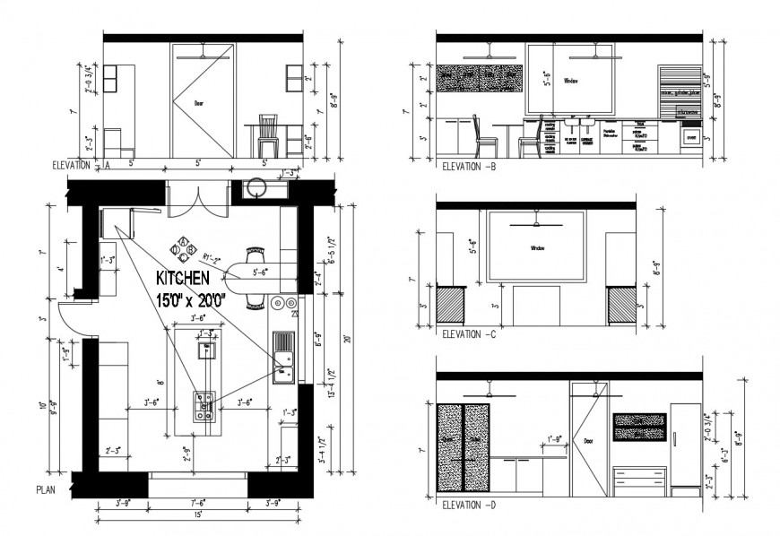 House kitchen section, elevation and layout plan with furniture drawing details dwg file
