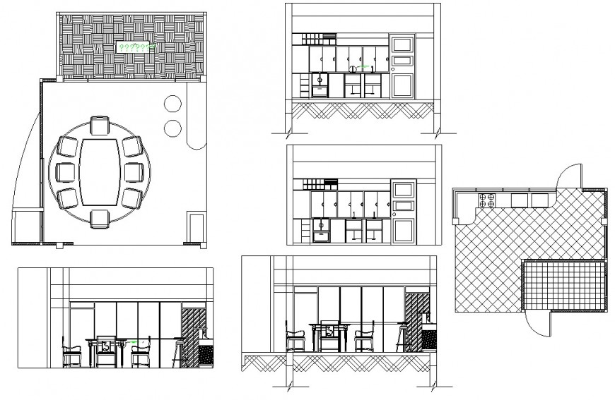 House kitchen section, layout plan and furniture drawing details dwg file