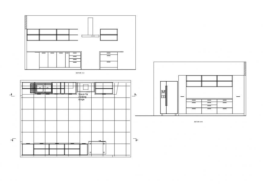 House kitchen section, plan details with furniture dwg file