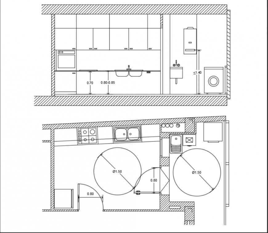 Kitchen Dwg File: Residential Housing Kitchen Elevation View In Detail Dwg