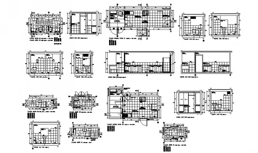 House kitchen section and plan with attached bathroom cad drawing details dwg file