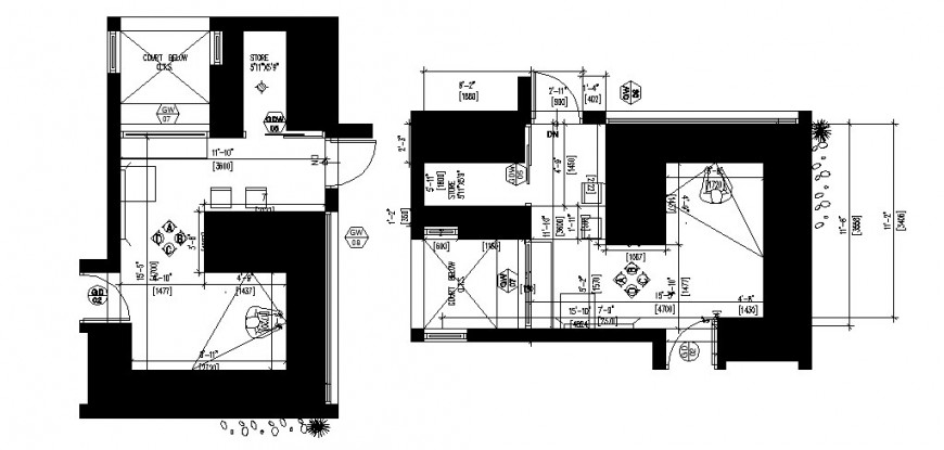 House kitchen top view architecture layout plan cad drawing details dwg file