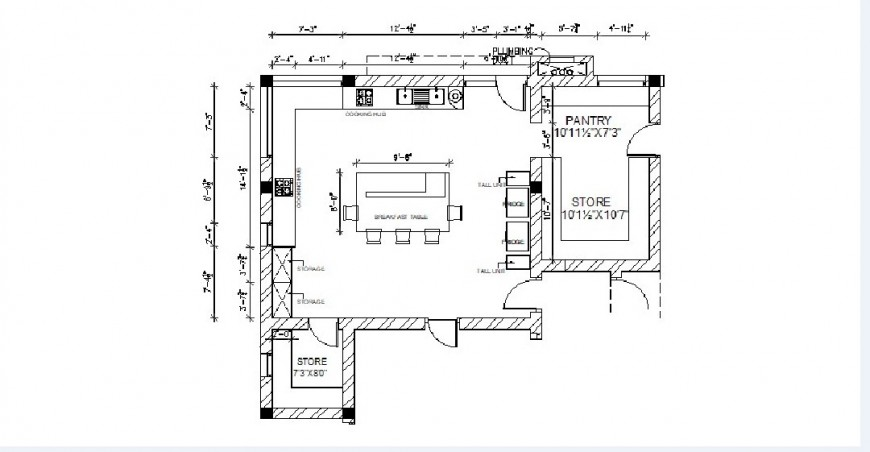 House kitchen top view layout plan auto-cad drawing details dwg file