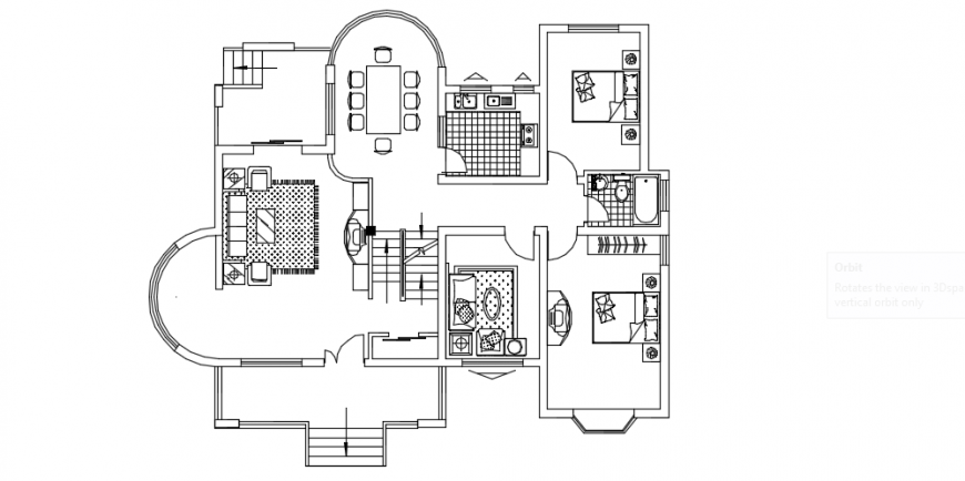 House layout floor plan top view dwg file