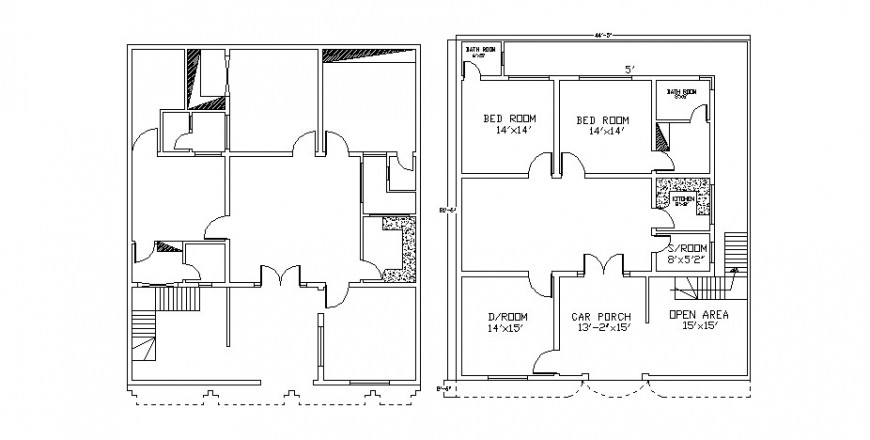 House layout plan and framing plan structure cad drawing details dwg file