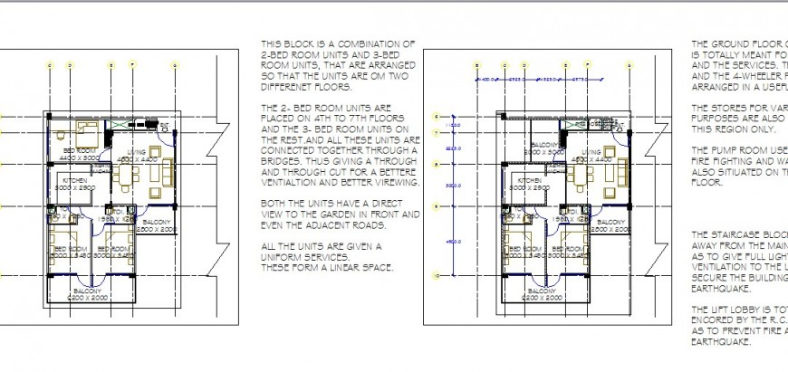 House layout plan details for multi-story housing building dwg file