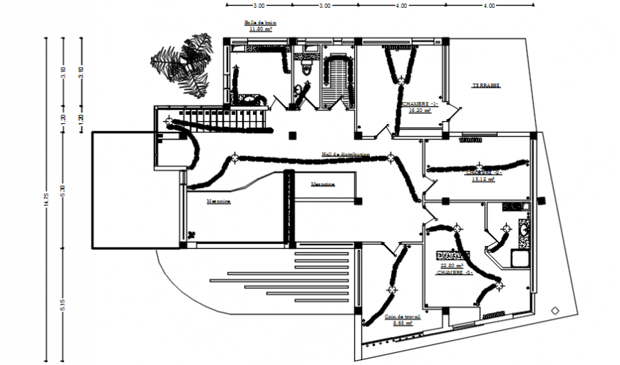 House layout plan details with electrical installation dwg autocad file