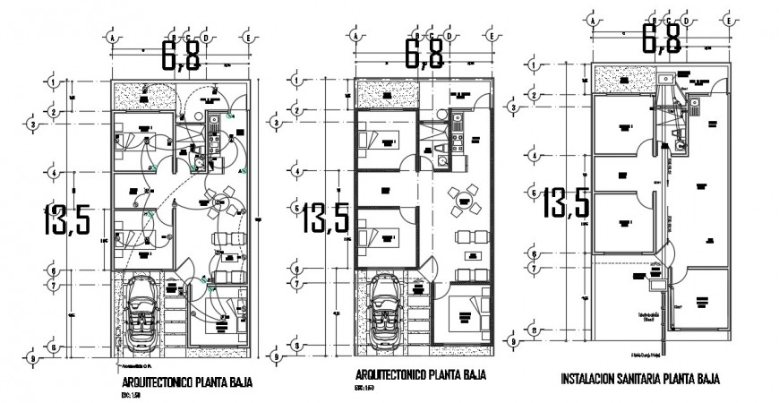House layout plan with electrical layout and furniture drawing details dwg file