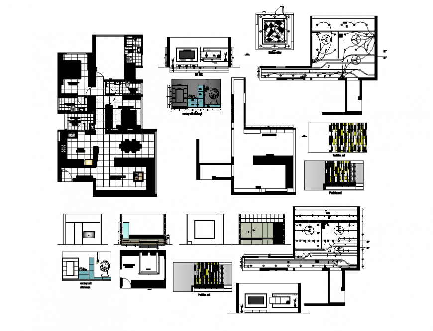 House layout plan with kitchen section and interior details dwg file