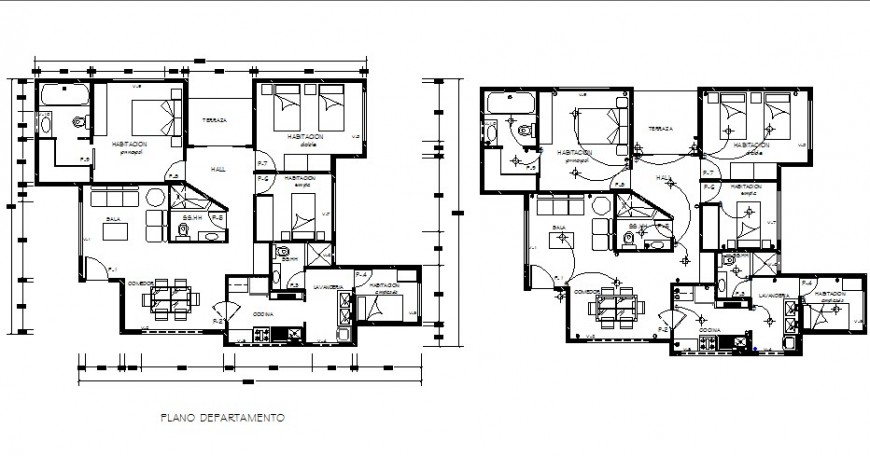 House layout plans drawing details for apartment building dwg file