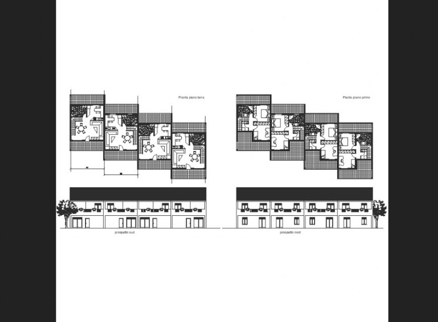 House layout with elevation plan detail dwg file.