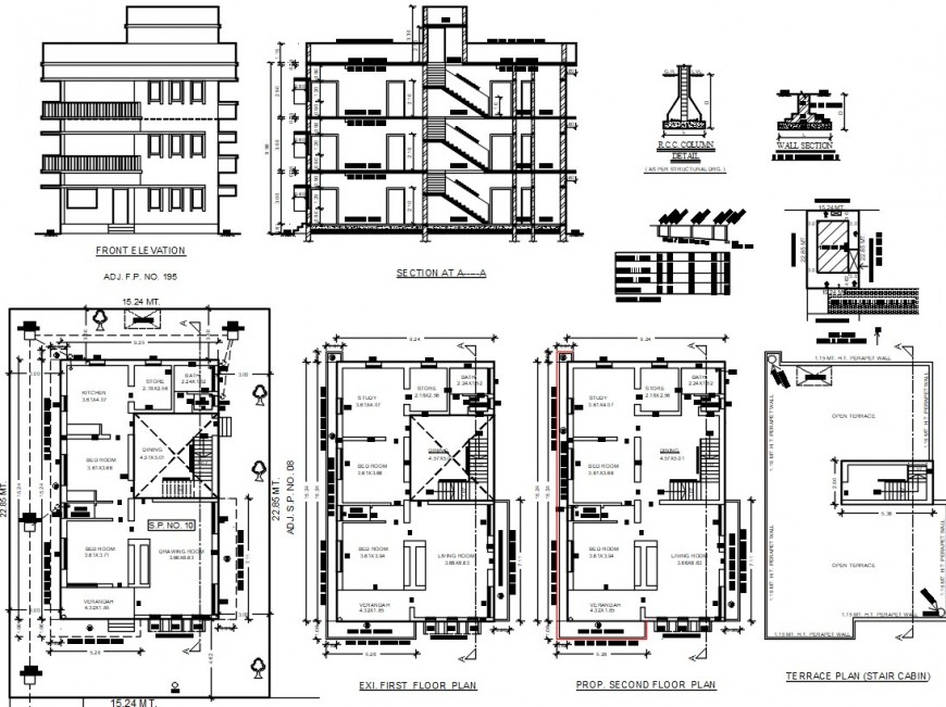 House living apartment elevation plan and sectional drawings in autocad file