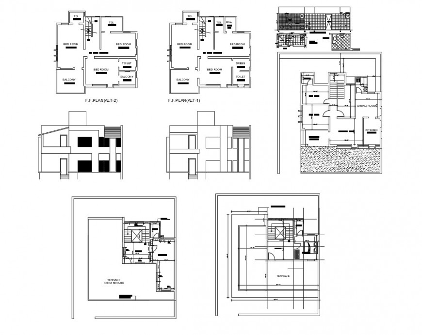 House main and back elevation, floor plan and structure drawing details dwg file