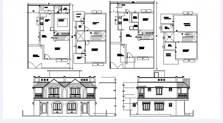 House main and back elevation and floor plan layout cad drawing details dwg file