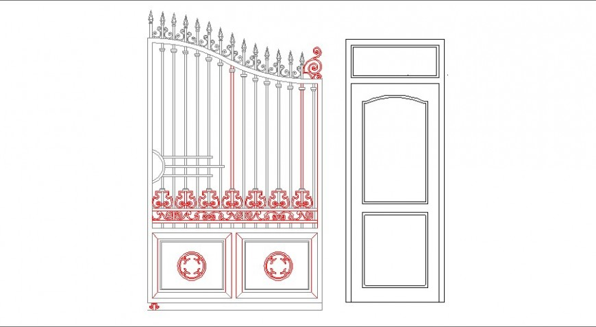House main door and main gate elevation block cad drawing details dwg file