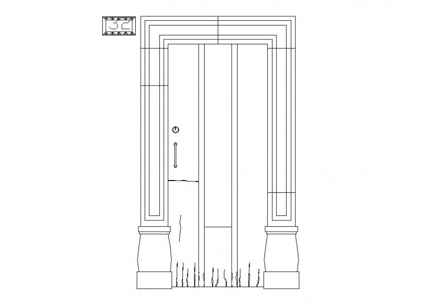 House main door main elevation block cad drawing details dwg file