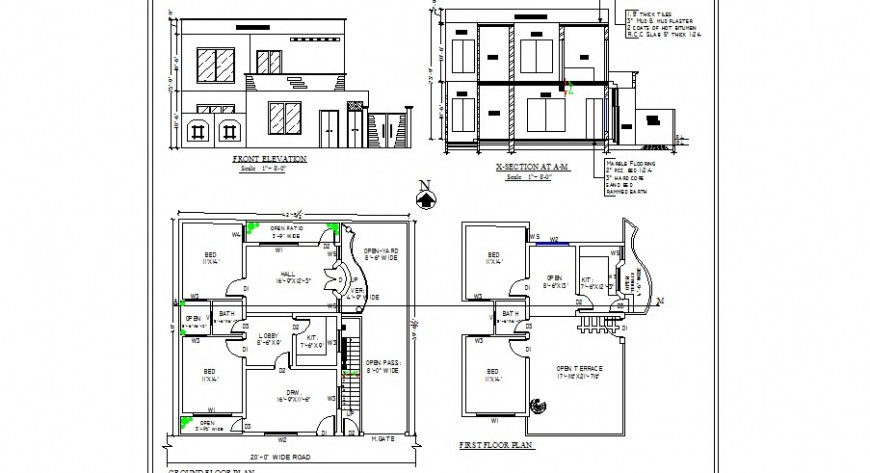 House main elevation, section and floor plan distribution for single family dwg file