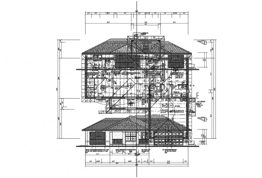 House main elevation, section with framing structure cad drawing details dwg file