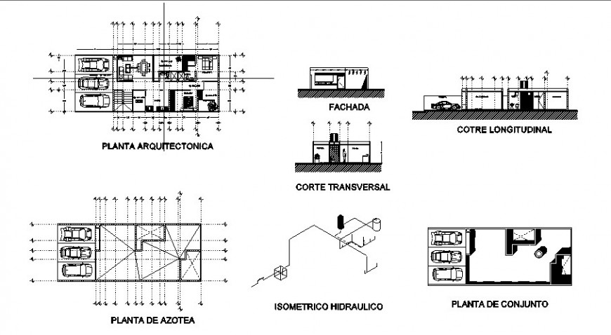 House main elevation, sections, floor plan and structure cad drawing details dwg file