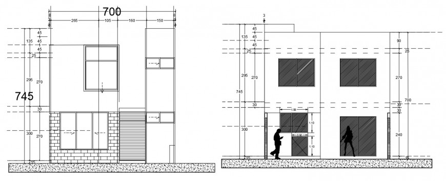 House main elevation and section drawing details dwg file