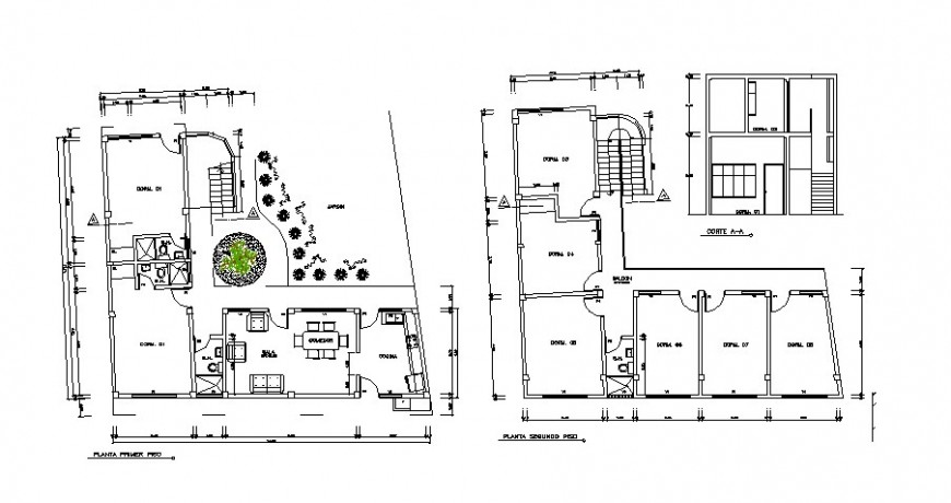 House main section, first and second floor plan cad drawing details dwg file