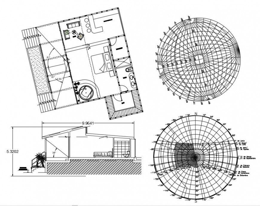 House main section, plan and solar plant details dwg file