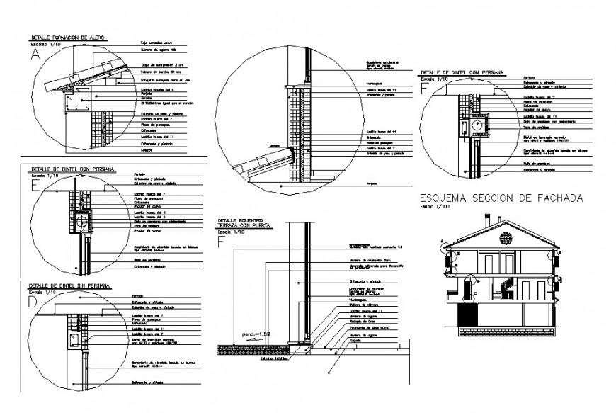 House main section, roof section and constructive structure details dwg file