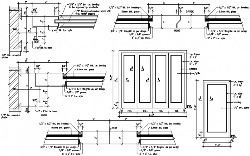House multiple doors installation and joinery details dwg file