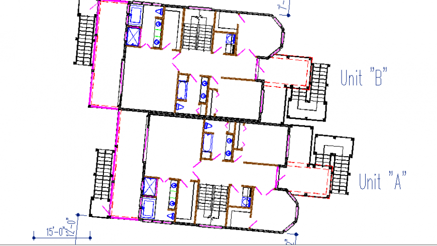 House of pine island framing plan details of both unit cad drawing details dwg file