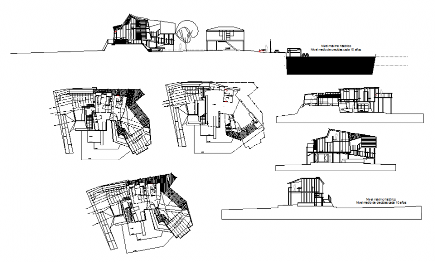 House on hill elevation, section and floor plan layout details dwg file
