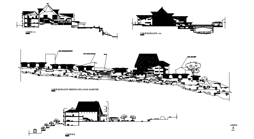House on mountain all sided elevation and section details dwg file