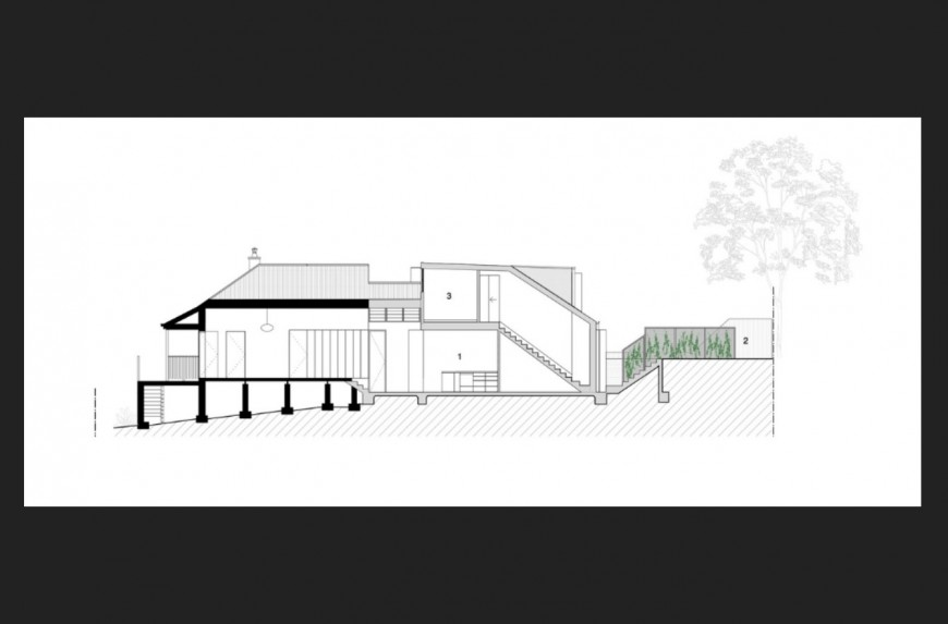 House on mountain constructive front section cad drawing details dwg file