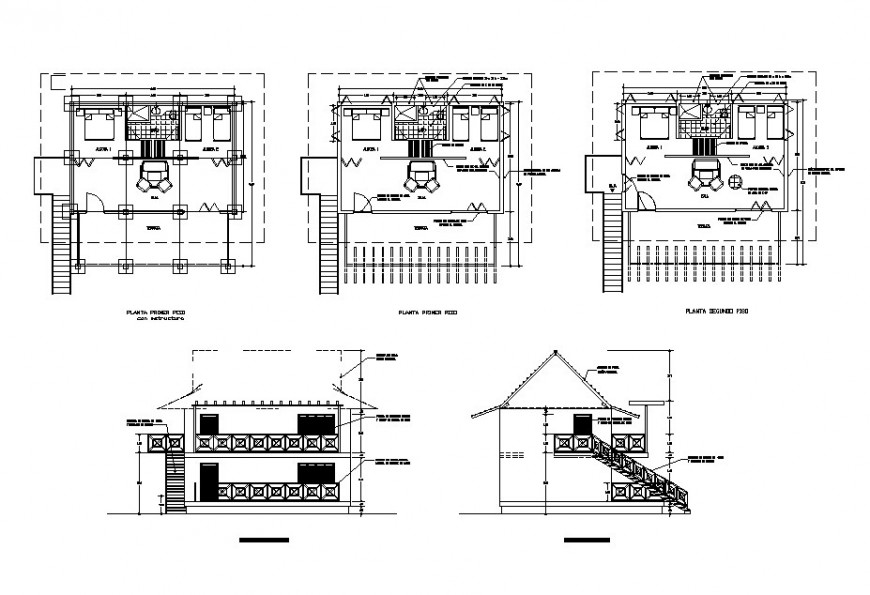 House one family constructive section, elevation and plan cad drawing details dwg file