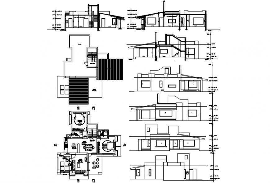 House one family elevation, section and floor plan details dwg file