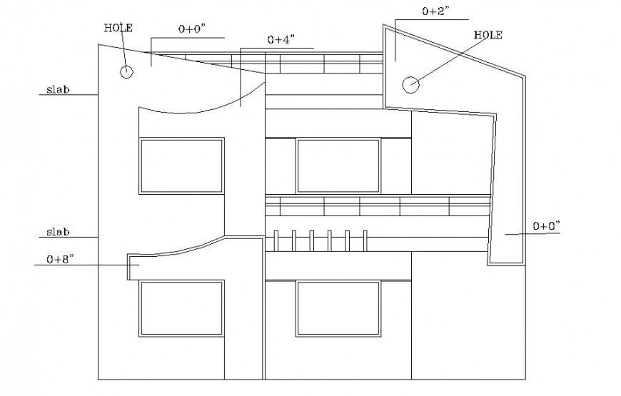 House one family front elevation with slab hole cad drawing details dwg file