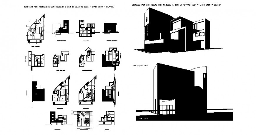 House one family isometric elevation, floor plan and auto-cad drawing details dwg file