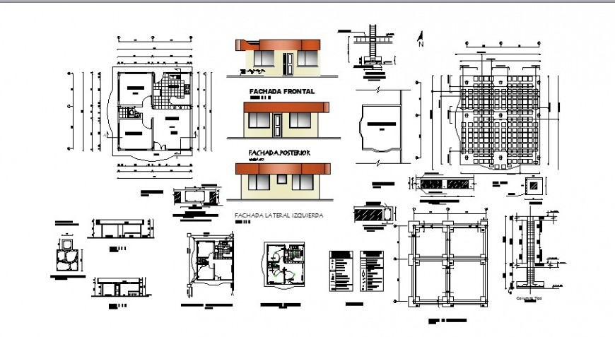 House one story elevation, section, plan and structure drawing details dwg file
