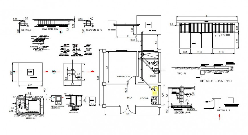 House plan, elevation, section and other construction detail 2d view CAD block layout dwg file
