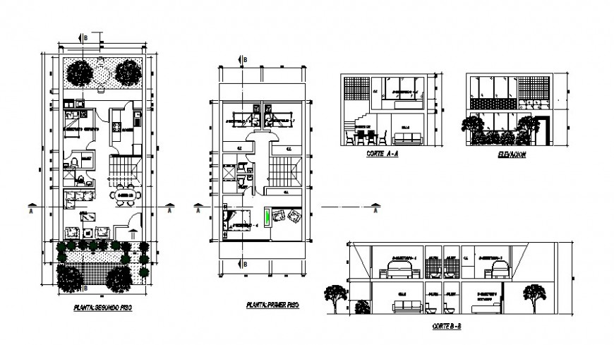 House plan, elevation and section 2d view CAD construction block layout file in dwg format