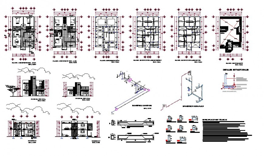 House plan, elevation and section 2d view CAD structural block layout autocad file
