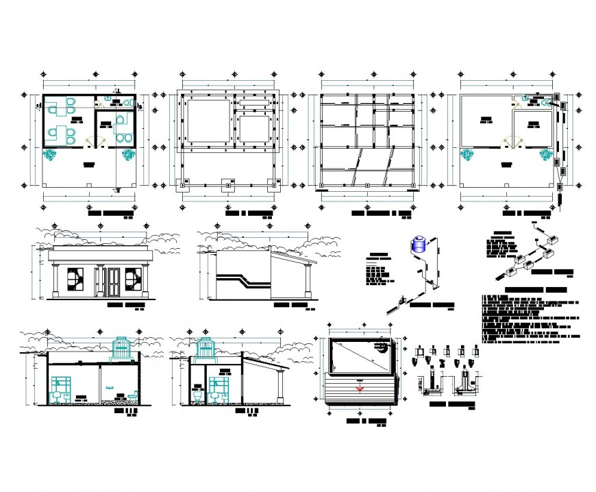 House plan, elevation and section plan dwg file