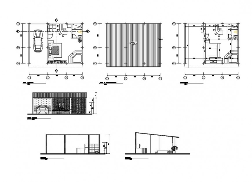 House plan, elevation and sectional detail 2d view layout file in autocad format