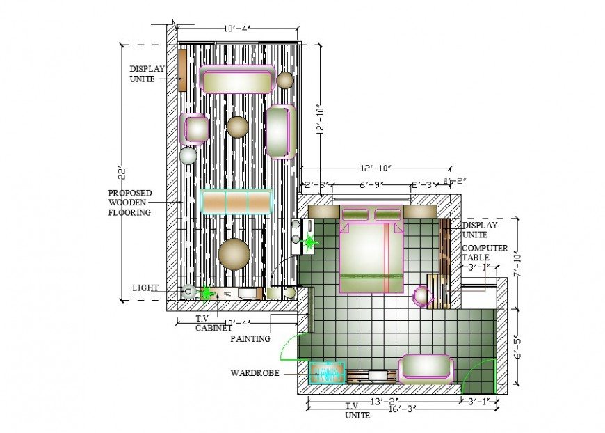 House plan, furniture layout and plan and interior cad drawing details dwg file