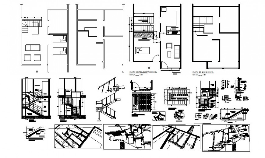 House plan along with staircase details 2d view autocad file